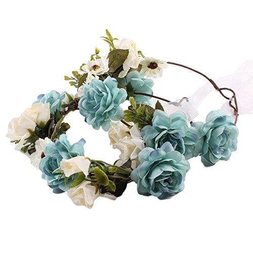 COIN Stirnband Blumenkranz Blumenstirnband Handwerk für Festival Hochzeit Blumenkrone für Mädchen Brautjungfer Festival Urlaub für Mutter & Baby Mädchen 2 Pcs (Blau)