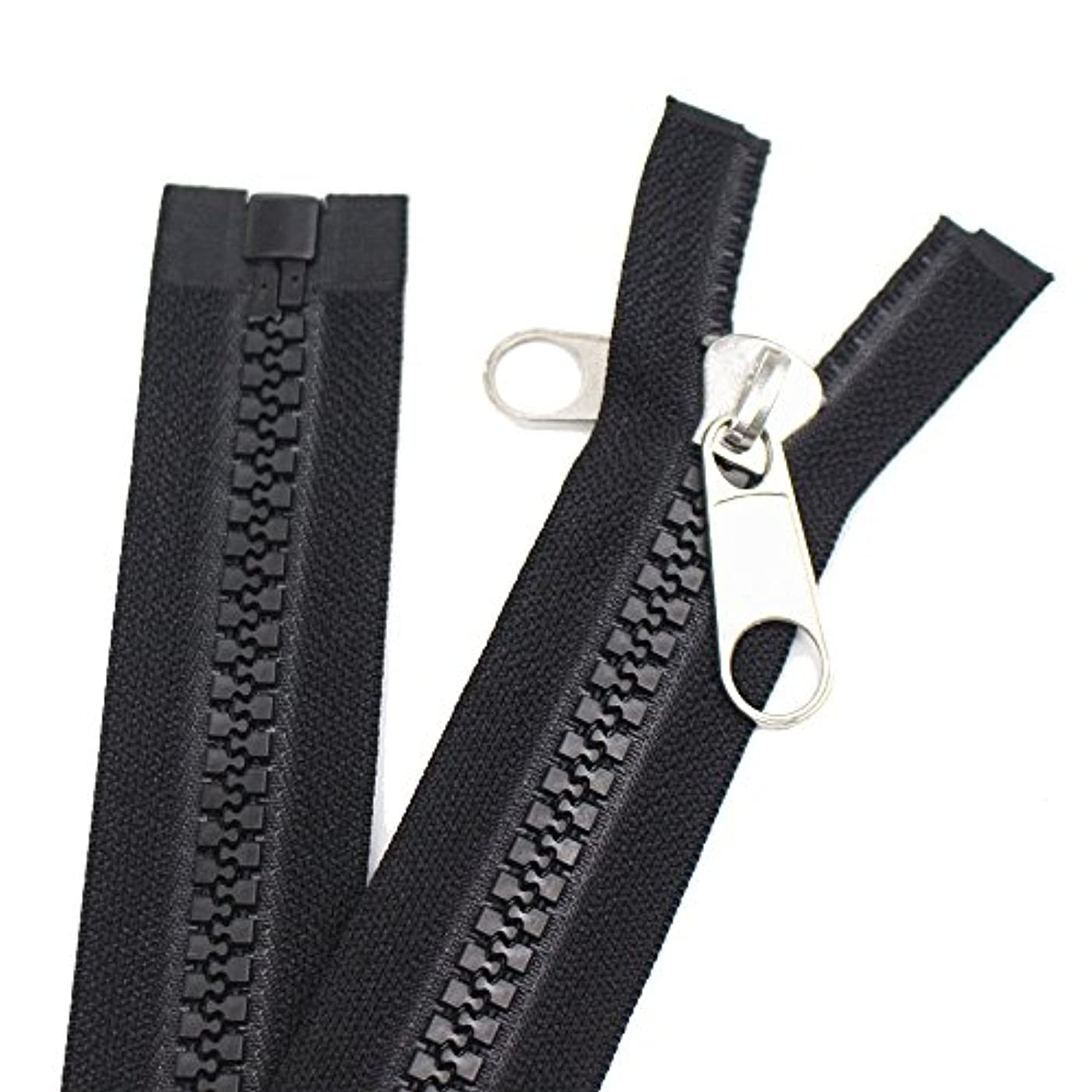 Meillia Zipper 106 inch, Black, 10# Seperating Plastic Zipper, Double Silver Pulls, Large Long Vislon Zipper for Sewing Sleeping Bags Boat Canvas Cover Tents (106