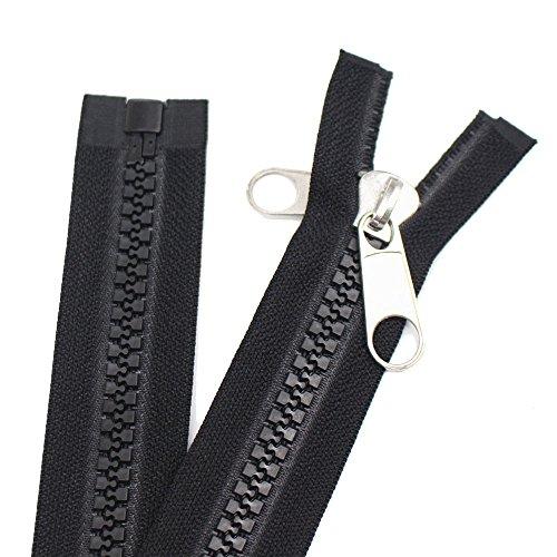 Meillia Zipper 106 Inch, Black, 10# Seperating Plastic Zipper, Double...