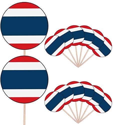 Thailand Vlag Partij Voedsel Cake Cupcakes Picks Sticks Vlaggen Opstaan Decoraties Toppers (Pak van 14)