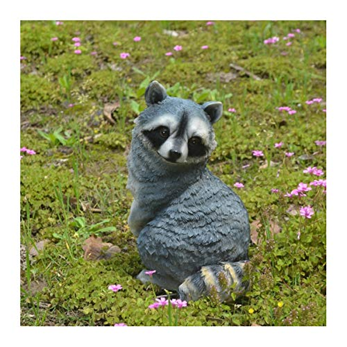 TongN Outdoors Statues 11.4 Inch Standing Little Raccoon Statue, Resin Simulation Rodents Decorative Sculpture Home and Garden Decor