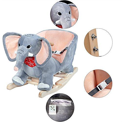 Deuba Schaukelelefant | Schaukeltier Plüsch Schaukel Wippe Pferd Einhorn Kinder Baby Spielzeug | Sound-Geräusche | inkl. Sicherheitsgurt | Balancetraining | besonders weich - 6