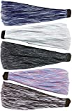 Hipsy Adjustable & Stretchy Space Dye Xflex Wide Headbands for Women Girls & Teens (Space Dye Grey/Violet/Black/Mint/Navy 5pk)