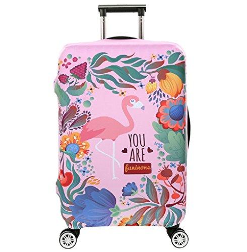 Cubierta de Equipaje en Flamingo Form,Duradero Protector Lavable Plegable, el tamaño del Protector de la Maleta se Ajusta 18-32 Pulgadas (Flamenco 1, L)