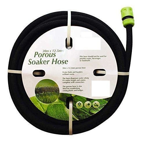 Manguera porosa con dispensador de agua para jardín o exterior, 30 x 12,5 mm, color negro