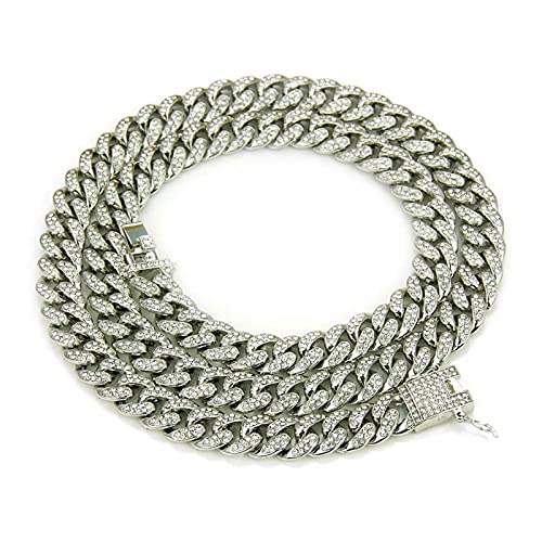 YHQKJ Mens Out Hip Hop Miami Cuban Link Chain Choker Necklace, Stainless Steel Necklace Chain Iced Out Jewelry Pendant, for Urban Street-wear (Color : Silver, Size : 22inch)