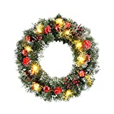 Yelite Christmas Wreath with LED String Lights,Battery Powered Lighted Christmas Wreath Ball,40CM Xmas Door Wreath Artificial Xmas Hanging Garland