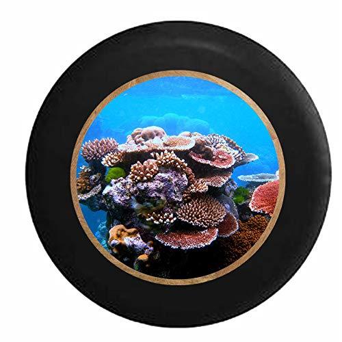 Hokdny Cubiertas De Neumáticos para Rueda De Repuesto Coral Reef Living Ocean Art Sea Life Negro A Prueba De Polvo, Impermeable, Protección Solar Y Protección contra La Corrosión.