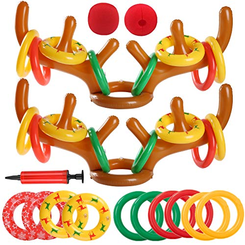 Uniqhia 2 Sets Inflatable Reindeer Antler Ring Toss Game (2 Antlers 20 Rings and 2 Red Noses) for Christmas Party Games