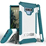 Military Grade Drop Test Certified [Shockproof] Rugged Dual Layered Case [Magnetic Kickstand] Cover Compatible with Samsung Galaxy Note 9 (White/Blue)