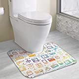 Bgejkos Non Slip Game Video Gaming Pattern Contour Bath Mats for Toilet Soft Absorbent Water Dry Fast Machine-Washable Perfect for Toilet (15.7x19.3 Inch)