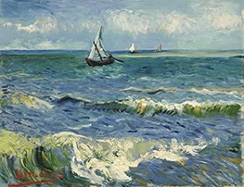 Crazystore Obra para el hogar 20x30cm sin Marco Paisaje Marino en Saintes Maries de Vincent Van Gogh Reproducción de Pinturas al óleo Obra clásica de Giclee Imagen del océano