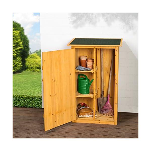TecTake 402200 Caseta Armario para Jardín, 2 Estantes para Herramientas, Tejado Plano, 75x56x118 cm