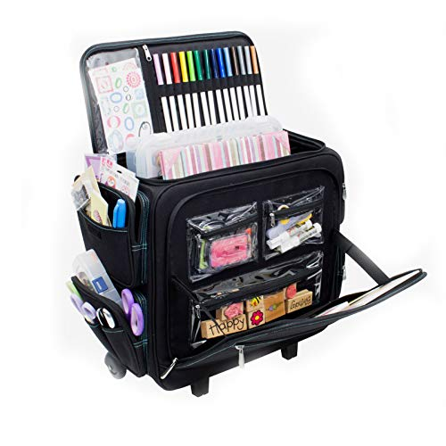 Everything Mary Deluxe Titan Teacher Rolling Organizer Storage Tote - Premium Rolling Case with Wheels and Handle for Teachers, Students, and School - Holds Textbooks, Laptops, Folders, and Binders