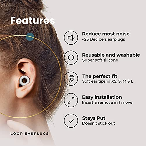 Loop Quiet Noise Reduction Earplugs – Super Soft, Reusable Hearing Protection in Flexible Silicone for Sleep, Noise Sensitivity & Flights - 8 Ear Tips in XS/S/M/L – 25dB Noise Cancelling - White