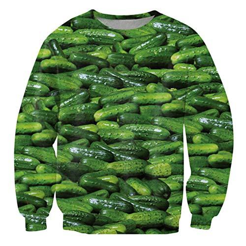 Harajuku Herren Hoodies und Sweatshirts 3D Bedruckte Gurken Gurken Streetwear Langarm Hemd Tops Fashion Hoodies XL