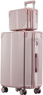 「親子セット」機内持込キャリーバッグ キャリーケース スーツケース 化粧ケース ミニトランク ビジネスキャリーバッグ TSAダイヤル式ロック搭載 機内持込 (ローズゴールド, L)