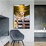 Pinturas abstractas en lienzo de dama aristocrática carteles e impresiones cócteles para chicas cuadros artísticos pared para decoración sala de estar, 60 x 90 cm (23,6 x 35,4 pulgadas) sin marco
