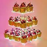 YestBuy 3 Etagen Acryl Cupcake Ständer Tortenständer mit LED-Lichterkette ideal für Hochzeiten Geburtstag (Mehrfarbig)