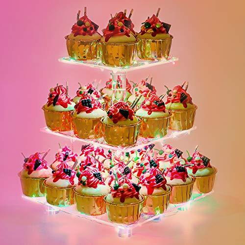 YestBuy 3 Etagen Acryl Cupcake Ständer Tortenständer mit LED-Lichterkette perfekt für Hochzeiten Geburtstag (Mehrfarbig)