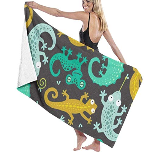 Gecko And Lizard Black Microfiber Beach Towel For Travel Quick Dry Super Absorbent Sand Free Towel Beach Towels For Pool Swim Water Sports The Best Creative Gift