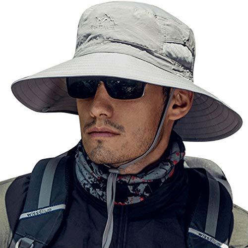 Wide Brim Fishing Sun Hat Men UPF50+ Breathable Boonie Safari Bucket Cap for Camping Gardening Light Grey