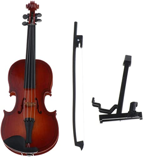 FLAWISH 1 6 Dollhouse Miniature Wooden Violin With Stand Musical Instrument Model