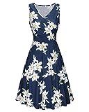 KILIG Women's Floral Print Dress,Casual Sleeveless V Neck A Line Elegant Dresses with Pockets,Floral-04,X-Large