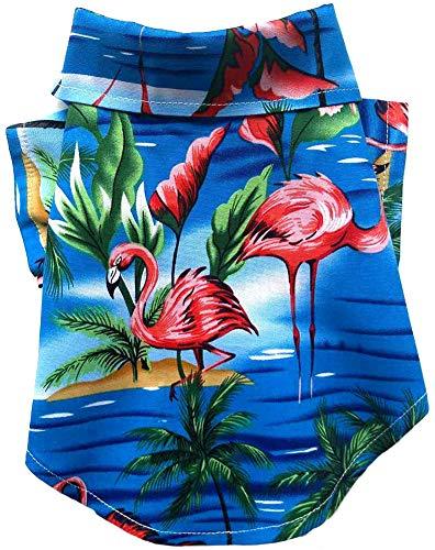 MaruPet Dog Hawaiian Shirt NewStyle Summer Beach Vest Short Sleeve Pet Clothes Dog Top Floral T-Shirt Hawaiian Tops Dog Jackets Outfits for Small Dogs Breeds Cats Blue S