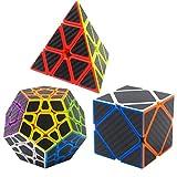 Coolzon Puzzle Cubes Megaminx + Pyraminx + Skewb 3 Pack Cubo Magico con Pegatina de Fibra de Carbono Velocidad