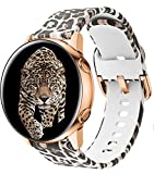 DSAAplus Compatible With Galaxy Active 2 silicone band rose gold clasp Women 20mm Soft Silicone Bracelet Replacement for Samsung Galaxy Watch 3 41mm, 42mm,Active2 40mm 44mm (leopard)