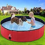 Wimypet Piscina para Mascotas o Niños Plegable, Piscina para Mascotas Bañera Plegable, Piscina para Perros, Piscina para Perros Plegable - Rojo (160x30CM)