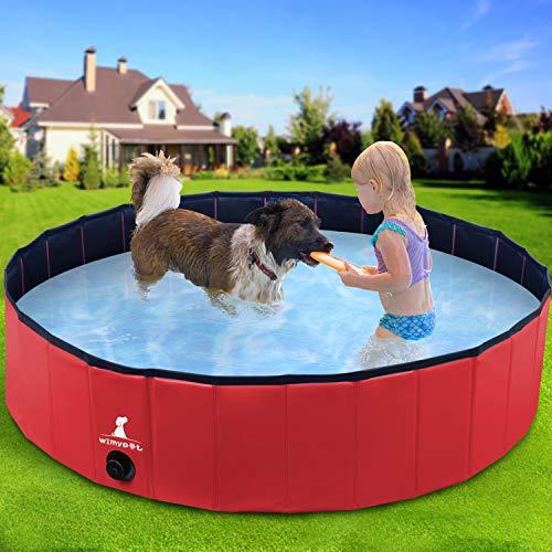 Wimypet Piscina Mascotas o Niños Plegable, Piscina para Perros Bañera Plegable, PVC Antideslizante y Resistente, Piscina Perros Perros/Gatos/Niños - Rojo (120x30CM)