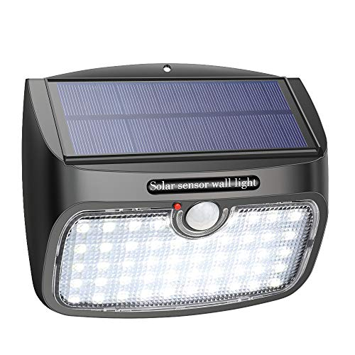 Luz Solar de Exterior, Lámpara Solar 48LED 800LM, Panel Solar Desmontable LED Exterior Impermeable con Sensor de Movimiento, Foco Solar de Pared para Jardín, Garaje, Camino, Patio, 1 Piezas