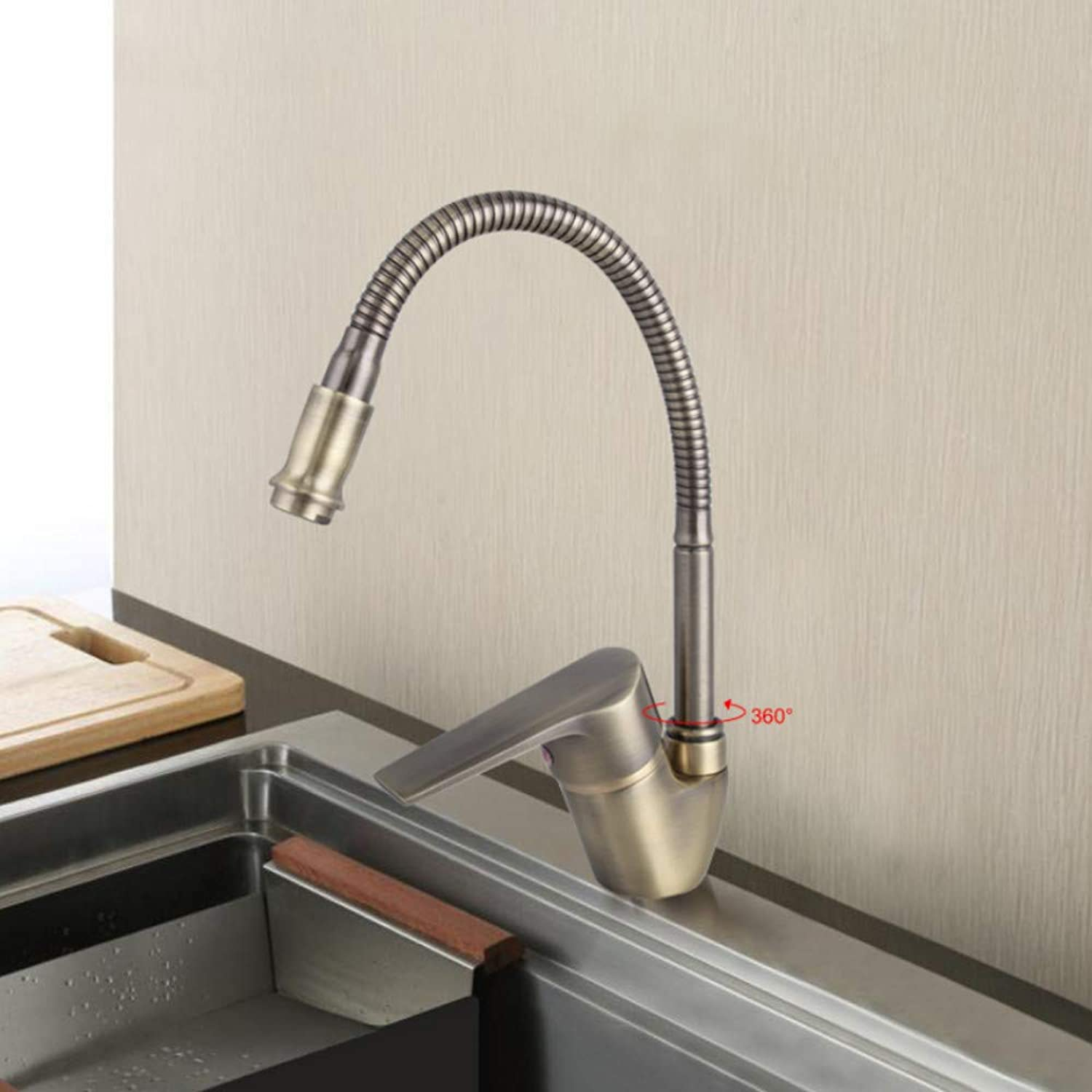 Ayhuir Antique Style Bronze Kitchen Faucet Cold and Hot Water Mixer Tap Flexible Hose 360 Degree redation