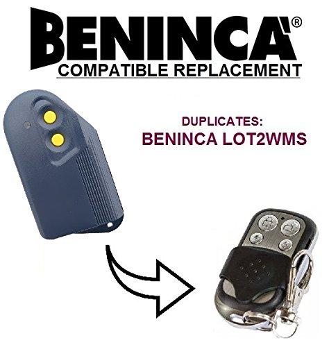 BENINCA LOT2WMS Compatible Mando a distancia, Clone transmisor para puerta de garaje automatización, calidad superior llavero, 433,92mhz, para códigos fijos clone.
