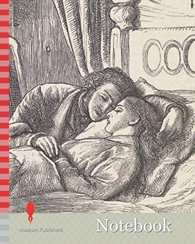 Notebook: At Night, Published, 1860 William Holman Hunt, Drawing, Ink, Bedroom, Sketch, Pre-Raphaelite, Printing, Wood Engraving, Female, Male, Sadness, Death, Emotion, Sad, Furniture, Bed