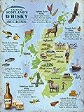 New 30x 40cm Schottland Whisky Regionen Karte Vintage