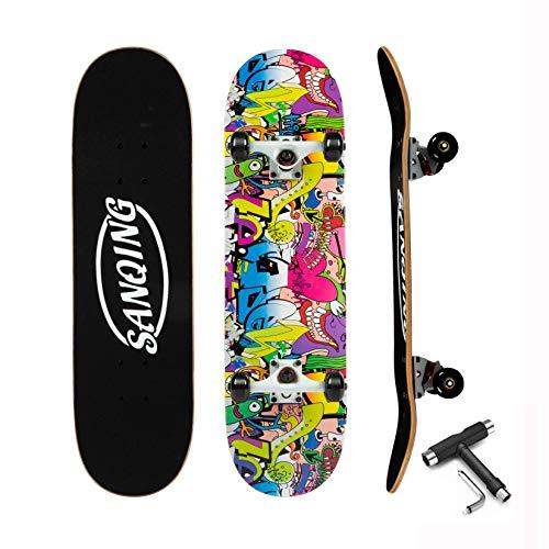 Skateboard Complete Skateboard for Kids Boys Girls Age 6-12 Standard Skateboards for Youths Beginners Starters- 7 Layer 31'' x 8'' Complete Canadian Maple Concave Kick Stunts Skate Boards(Green)