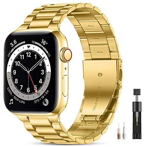 Vobafe Compatible con Correa Apple Watch 44mm 42mm 40mm 38mm SE, Pulsera de Repuesto de Metal de Acero Inoxidable Compatible con iWatch Series 6 5 4 3 2 1 38mm/40mm Oro