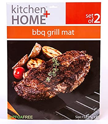 """BBQ Grill Mats -100% Non-stick, Extra Thick, Reusable, BPA and PFOA Free BBQ Grilling Accessories - 15.75 x 13"""" - (Set of 2)"""
