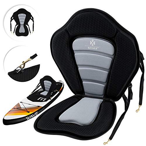 KESSER® Kajak-Sitz für SUP Board Stand Up Paddle Surfboard Sitz SUP Paddling Paddelboards Gepolsterte Sitz 32x38cm, Rückenlehne 51x45cm schnell und einfach montiert, Schwarz/Grau