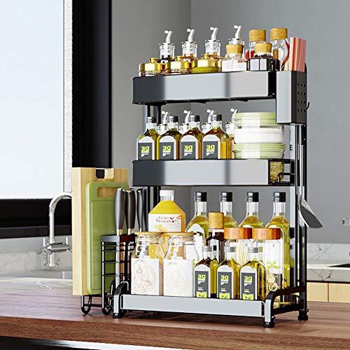 ZYH-shelf Flaschenregal, 3-Stufiger Gewürz-Aufbewahrungsbehälter Edelstahl-Gewürzregal Küchen-Badezimmer-Aufsatzregal Für Dosengewürzbehälter