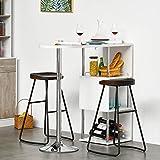HOMCOM Bartisch Stehtisch mit Eisenrahmen ausgestattet mit Einer Anti-Kippvorrichtung abnehmbar für Küche Wohnzimmer Esszimmer, P2 Metall, MDF, Weiß+Silber, 113x40x105 cm - 2