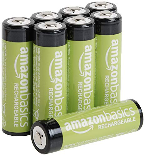 Amazon Basics 8-Pack AA Rechargeable Batteries, 2000 mAh, Pre-charged
