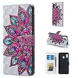 Byr883onJa Funda para smartphone con diseño de flores 3D horizontal con tapa para Galaxy A30, con soporte y ranuras para tarjetas, marco de fotos y cartera
