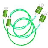 IHAO USB Type C to USB A and Micro USB to USB A Android Charger Cable Fast Charging High Data Speed Visible LED Lighted Current Flowing -Green/39 Inches