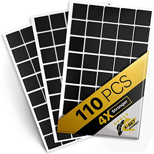 Magnetic Squares - 110 Self Adhesive Magnetic Squares (Each 4/5' x 4/5') - Flexible Sticky Magnets - Peel & Stick Magnetic Sheets - Tape is Alternative to Magnetic Stickers, Magnetic Strip and Roll