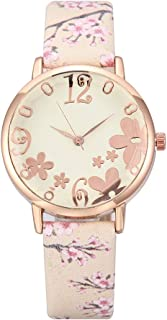 Elegant Embossed Flowers Stainless Steel Watches Case Ladies Watches Floral Print Leather Band Wrist Watches (Beige)
