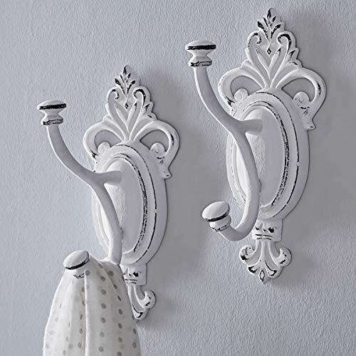 Pureday Wandhaken XXL - Vintage-Look - Aluminium - Antik Weiß